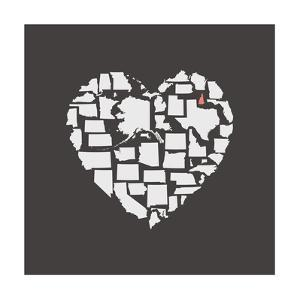 Black USA Heart Graphic Print Featuring New Hampshire by Kindred Sol Collective