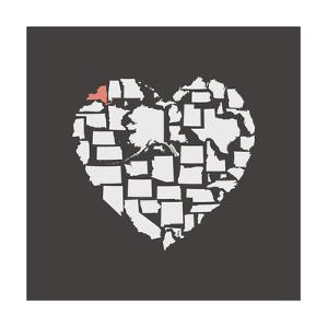 Black USA Heart Graphic Print Featuring New York by Kindred Sol Collective