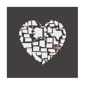 Black USA Heart Graphic Print Featuring North Carolina by Kindred Sol Collective