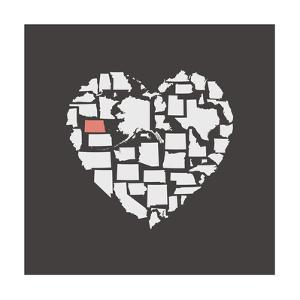 Black USA Heart Graphic Print Featuring North Dakota by Kindred Sol Collective