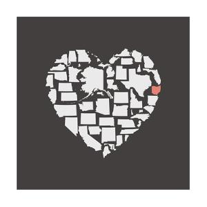 Black USA Heart Graphic Print Featuring Ohio by Kindred Sol Collective