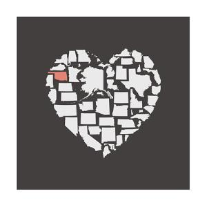 Black USA Heart Graphic Print Featuring Oklahoma by Kindred Sol Collective