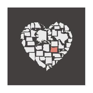Black USA Heart Graphic Print Featuring Oregon by Kindred Sol Collective
