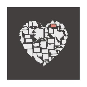 Black USA Heart Graphic Print Featuring Pennsylvania by Kindred Sol Collective