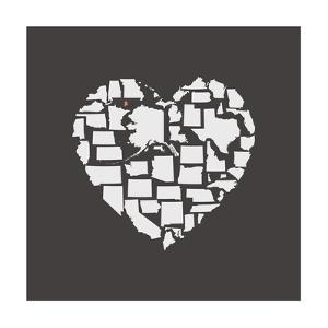 Black USA Heart Graphic Print Featuring Rhode Island by Kindred Sol Collective