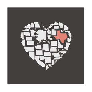 Black USA Heart Graphic Print Featuring Texas by Kindred Sol Collective