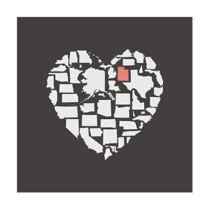 Black USA Heart Graphic Print Featuring Utah by Kindred Sol Collective
