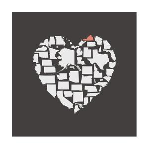 Black USA Heart Graphic Print Featuring Virginia by Kindred Sol Collective