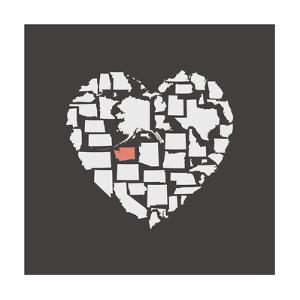 Black USA Heart Graphic Print Featuring Washington by Kindred Sol Collective