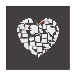 Black USA Heart Graphic Print Featuring West Virginia by Kindred Sol Collective