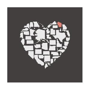 Black USA Heart Graphic Print Featuring Wisconsin by Kindred Sol Collective