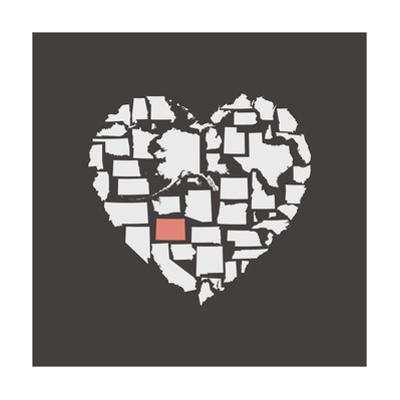 Black USA Heart Graphic Print Featuring Wyoming by Kindred Sol Collective