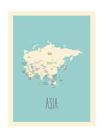 Blue Asia Map by Kindred Sol Collective