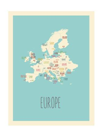 Blue Europe Map by Kindred Sol Collective