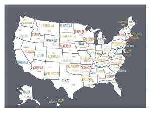 Grey USA Map by Kindred Sol Collective