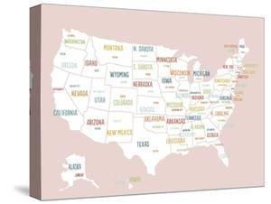 Pink USA Map by Kindred Sol Collective