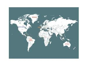 Turquoise World Map by Kindred Sol Collective