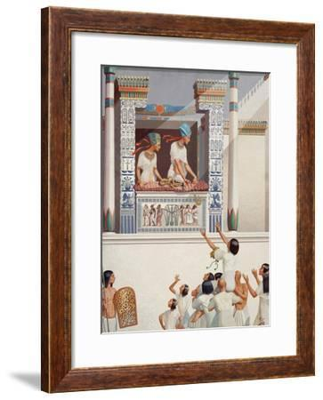 King Akh-En-Aten and Queen Nefret-Ity Give Honors to Favored Courtier-H.M. Herget-Framed Giclee Print