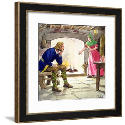 King Alfred burning the cakes, (c1900)-Trelleek-Framed Giclee Print