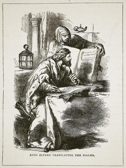 King Alfred Translating the Psalms (Litho)-English-Giclee Print
