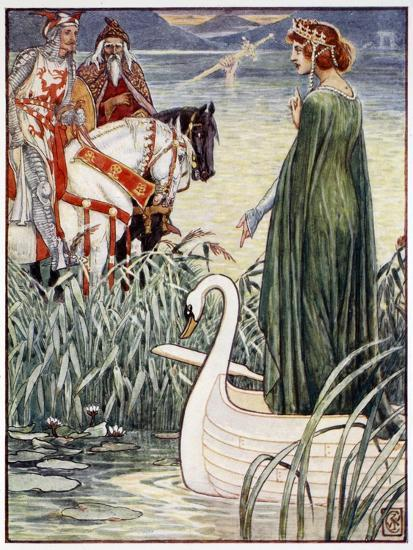 'King Arthur asks the Lady of the Lake for the sword Excalibur', 1911-Unknown-Giclee Print
