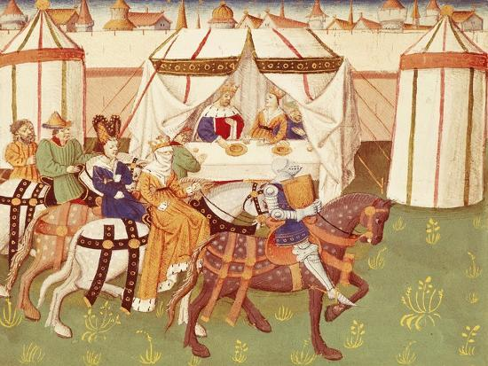 King Arthur Feast in Camelot: the Arrival of the Knights--Giclee Print