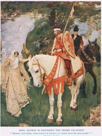 King Arthur Is Proffered Sword Excalibur, Illustration from 'King Arthur'-William Hatherell-Giclee Print