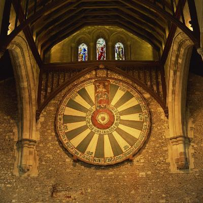 King Arthur's Round Table Mounted on Wall of Castle Hall, Winchester, England, United Kingdom-Roy Rainford-Photographic Print