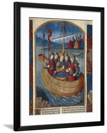 King Arthur with His Army Ship, Miniature from Lancelot of the Lake, Manuscript--Framed Giclee Print
