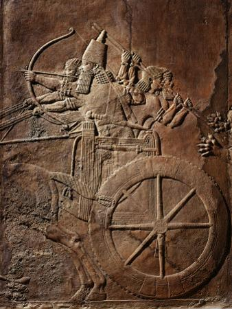 King Ashurbanipal on his Chariot, Assyrian Reliefwork, from Palace at Nineveh, 650 BC