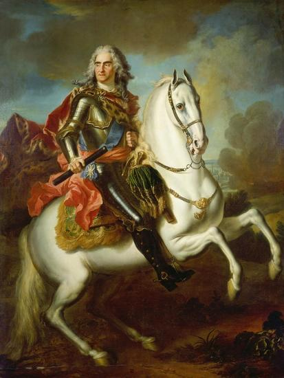 King Augustus II, (The Strong) of Poland Mounted on a Horse, C. 1718-Louis Silvestre-Giclee Print