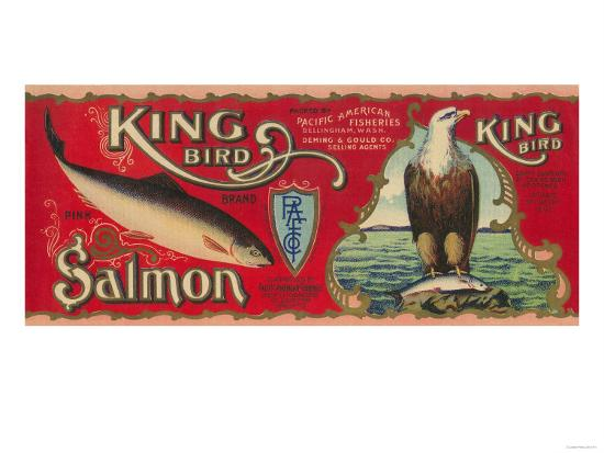 King Bird Salmon Can Label - Bellingham, WA-Lantern Press-Art Print