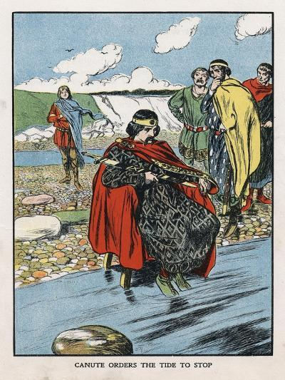 King Canute Trying to Turn Back the Tide, Early 11th Century (Early 20th Centur)--Giclee Print