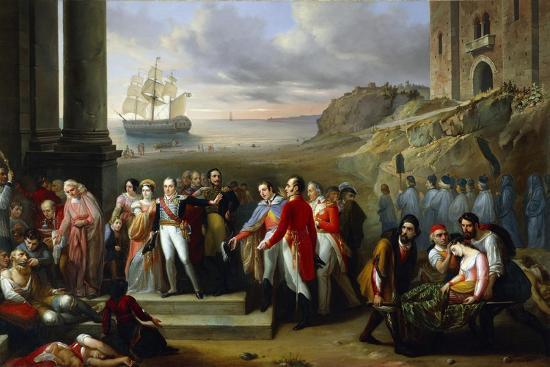 King Charles Felix Refusing to Abandon Sardinia While Epidemic Continues to Rage, 1847-Giovanni Battista Biscarra-Giclee Print