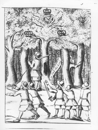 King Charles II Hiding in an Oak Tree at Boscobel after His Defeat at the Battle of Worcester--Giclee Print