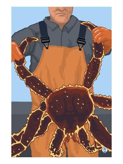 King Crab Fisherman-Lantern Press-Art Print