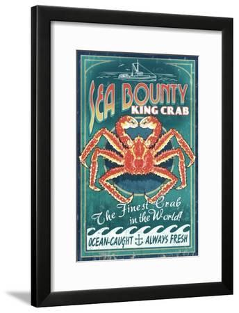 King Crab - Vintage Sign-Lantern Press-Framed Art Print
