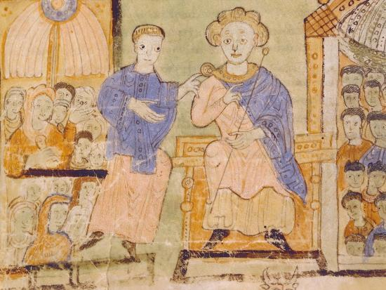 King David, Miniature from Expositiones Above Genesis, Manuscript Italy 11th Century--Giclee Print