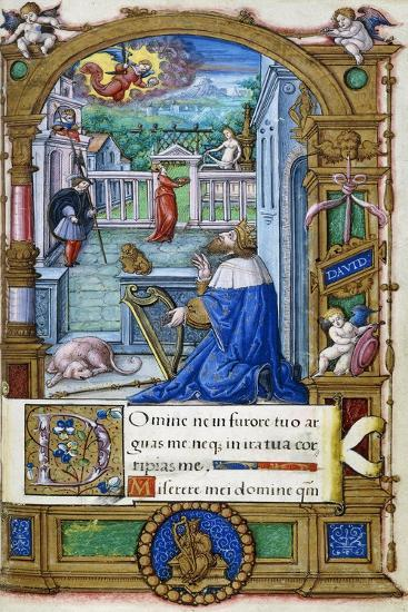 King David with a Harp, from a Book of Hours Made for Francois I, C.1532-1540--Giclee Print