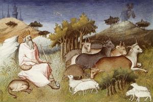 King Dor Watching over His Flock, Miniature from Livre Des Merveilles Du Monde