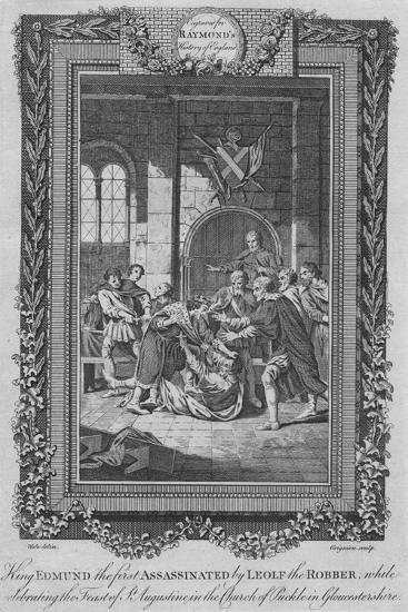 'King Edmund the first Assassinated by Leolf the Robbe', c1787-Unknown-Giclee Print