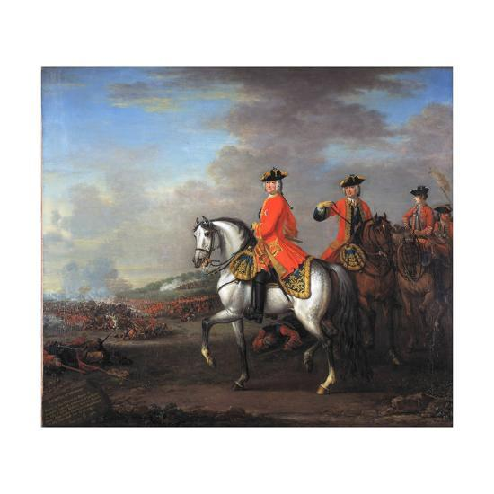 King George II (1683-1760) at the Battle of Dettingen, with the Duke of Cumberland and Robert,…-John Wootton-Giclee Print