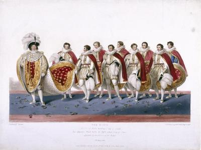 King George IV in His Royal Robes Wearing a Cap of Estate, 1826-Edward Scriven-Giclee Print