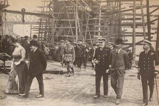 King George V and Queen Mary at a Sunderland shipyard during World War I, June 15th, 1917-Unknown-Photographic Print