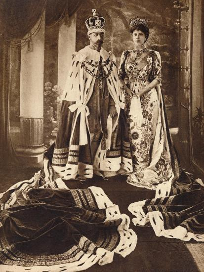 King George V and Queen Mary crowned and robed for the Delhi Durbar, 1911 (1935)-Unknown-Photographic Print