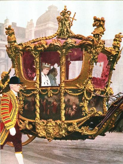 King George V and Queen Mary in the historic State Coach, c1935-Unknown-Giclee Print