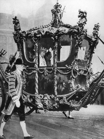 King George V and Queen Mary on their Way to the State Opening of Parliament, C1930S--Giclee Print
