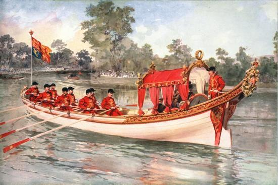 King George V and Queen Mary visiting Henly Regatta on the state barge, 1912-Unknown-Giclee Print