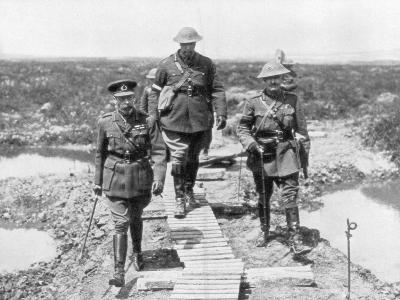 King George V and the Canadian General Currie View the Captured Ground at Vimy and Messines, 1917--Giclee Print