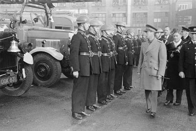 King George VI inspects firemen on his visit to Birmingham during WW2-Staff-Photographic Print